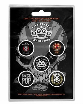 Five Finger Death Punch Logos PINS 5-PACK